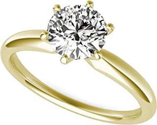 1.50 ct Brilliant Round Cut Solitaire Highest Quality moissanite Engagement Wedding Bridal Promise Anniversary Ring in Solid Real 14k Yellow Gold for Women