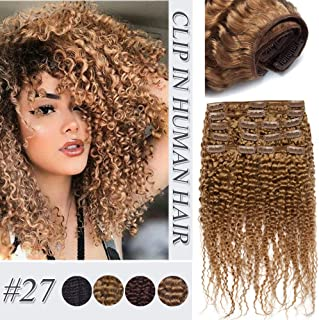 Afro Kinky Curly Clip In Human Hair Extensions Thick Double Weft Brazilian Virgin Hair Full Head 8 Pcs 18 Clips Kinkys Curly Clip Ins For African American Black Women #27 Dark Blonde 22 inch 120g