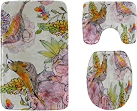 Colorful Watercolor Flowers and Birds Bathroom Rug Mats Set 3-Piece,Soft Shower Bath Rugs,Contour Mat and Toilet Seat Lid ...