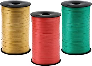 Elcoho 3 Roll Christmas Curling Crimped Ribbon Balloon Band Tie Red Green and Gold for Christmas Parties,Gift Wrapping, Fe...
