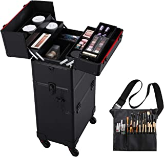 Yaheetech Professional Train Case 3 in 1 Makeup Organizer Large Rolling Cosmetic Case..