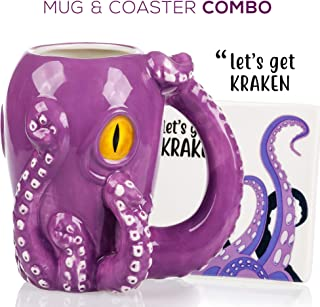 Octopus Mug & Coaster Gift Set – Unique Hand Painted Novelty 3D Ceramic Coffee..