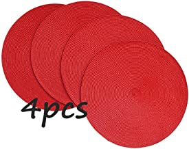 SBParts 4PCS Placemat,15-Inch Round Environmental pp Crossweave Woven placemats Decorative pad (Coffee, 4pcs placemats) (red, 4pcs placemats)