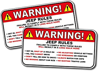 jeep warning stickers