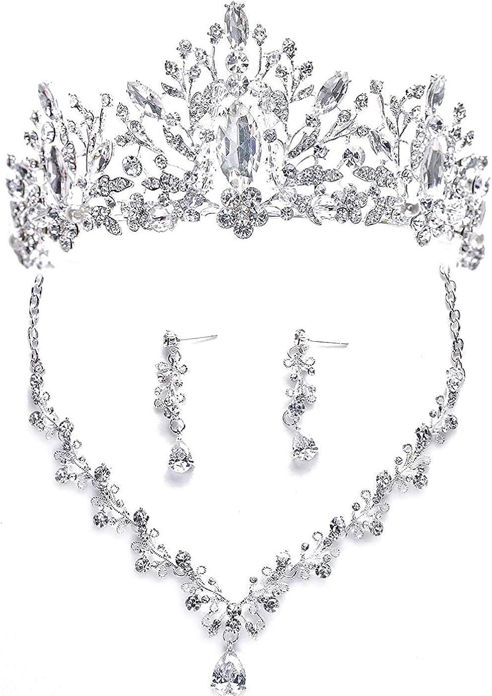 EverLove Women's Bride Headdress Jewelry Wedding Necklace Earrings Set Crystal Crown Tiara