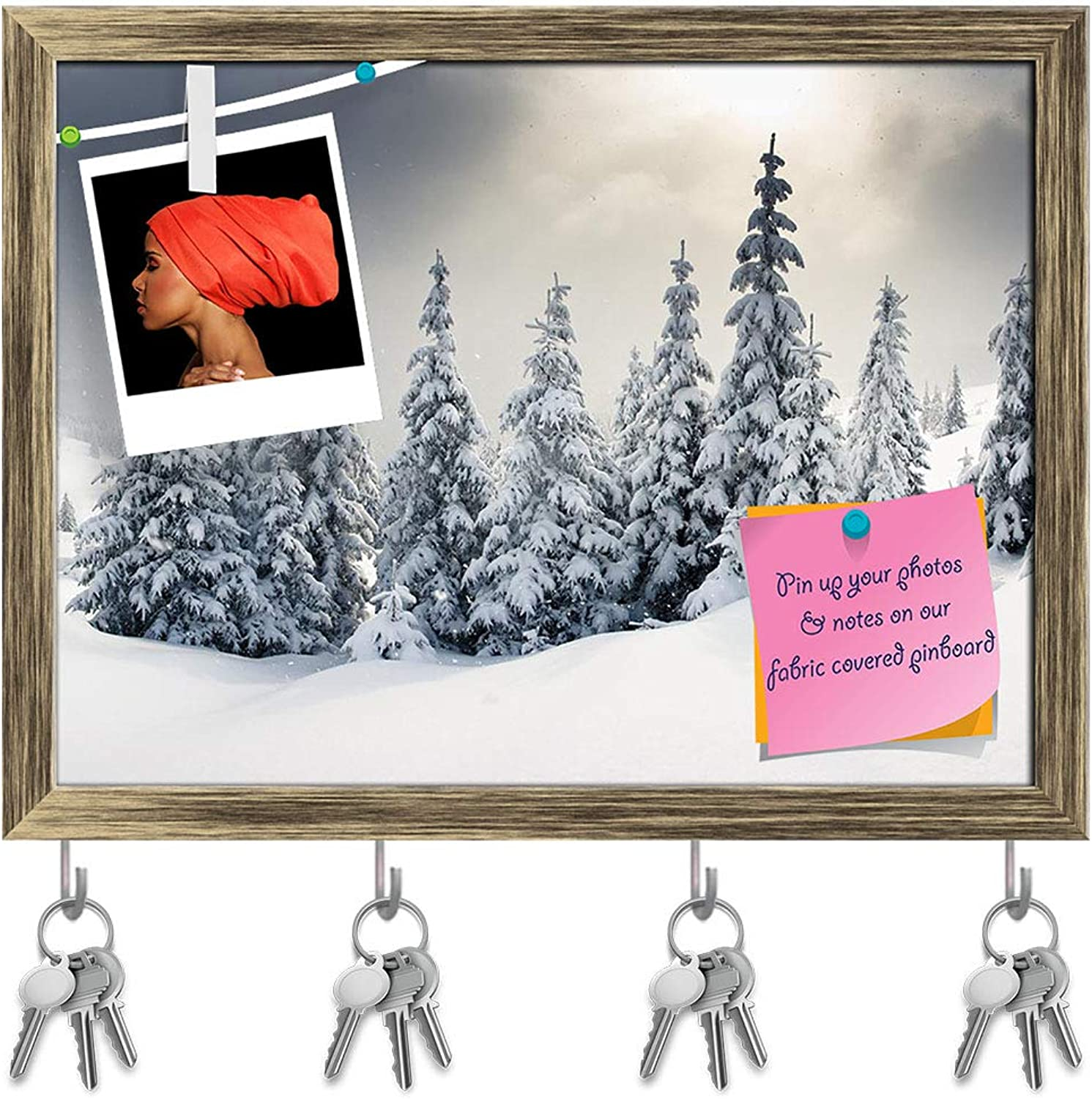 Artzfolio Trees Covered with Hoarfrost Key Holder Hooks   Notice Pin Board   Antique golden Frame 15.8 X 12Inch