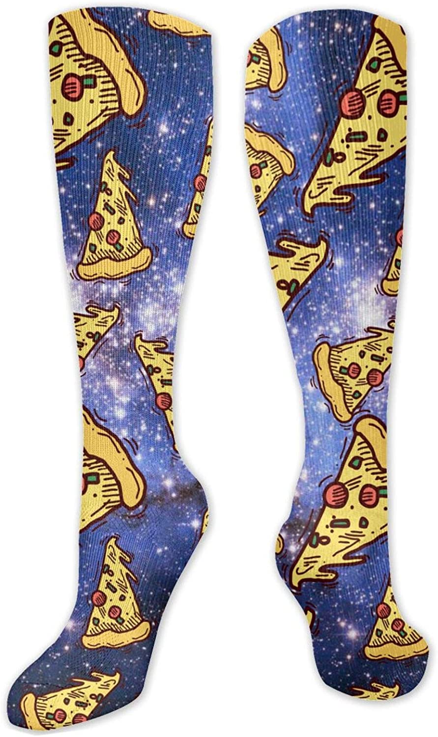 NiYoung Unisex Comfortable Athletic Socks Funny Funky Novelty Socks Over The Calf Tube Socks for Running, Athletic, Pregnancy and Travel (Pizza in Space Cool)