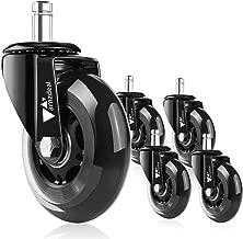 amzdeal rotelle per sedie di 5 Ruote per Pavimenti Set duri universali compatibili con Diversi Tipi di sedie, Le silenziose rotelle per sedie da Ufficio (Big)