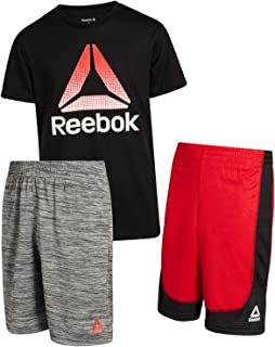 Reebok Boys 3-Piece Athletic Sports Performance Quick Dry Short Set with T-Shirt and Shorts