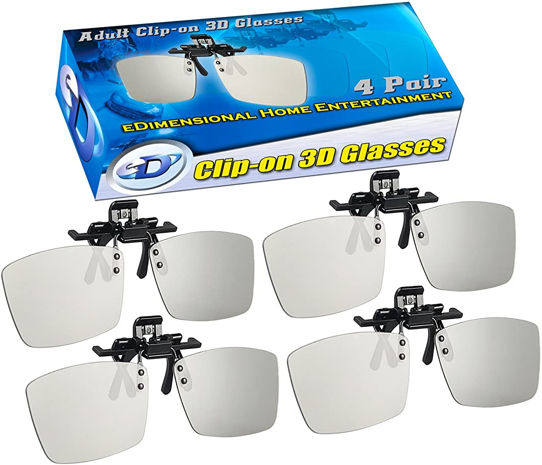 ED Cinema Clip-On 3D Glasses 4 Pack for LG 3D TVs - Adult Sized Passive Circular Polarized 3D Glasses
