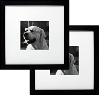 10x10 Black Gallery Picture Frame with 5x5 Mat 2-Pack - Wide Molding - Includes Both Attached Hanging Hardware and Desktop Easel - Display Pictures 5 x 5 or 10 x 10 - Two Frames