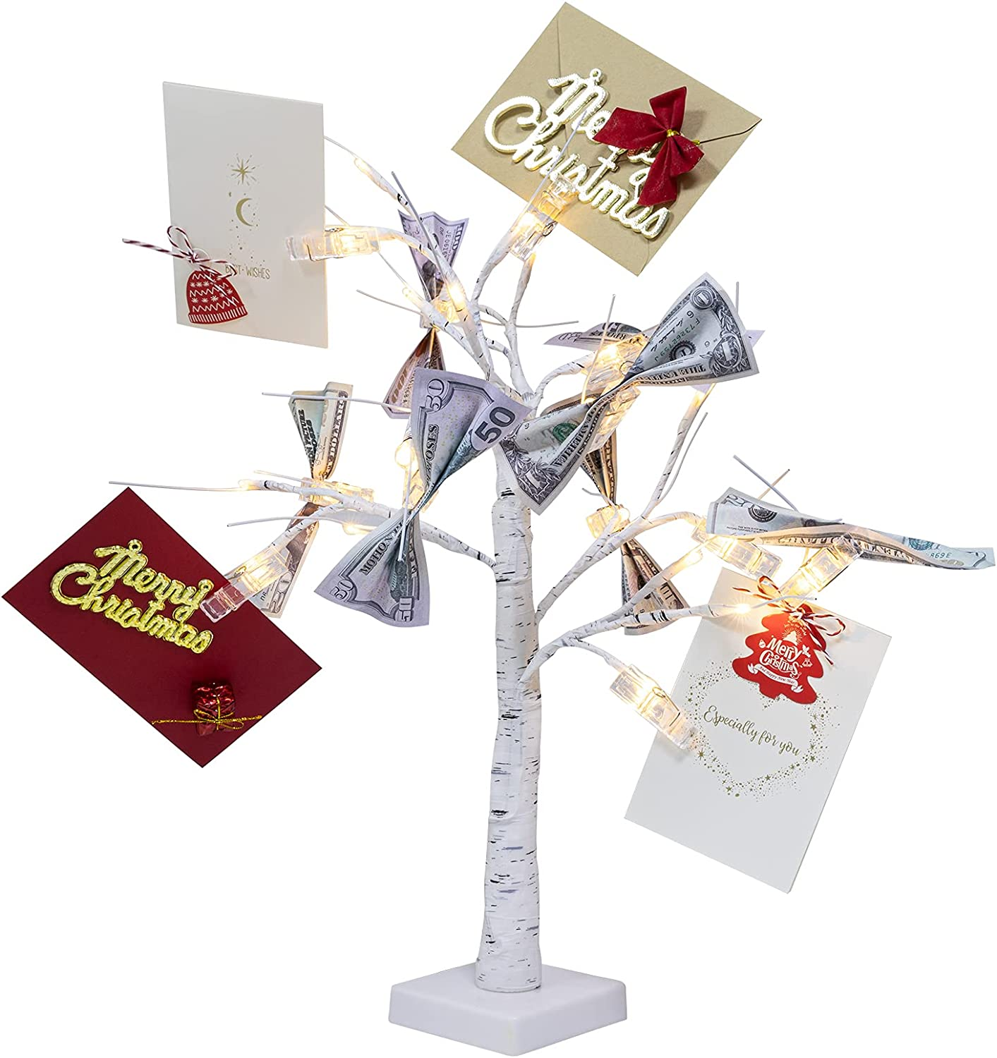2FT Tall Money Tree Gift Card Holder with 1 USB Data Cable- Dual-use White Money Tree Present Card Holder Money Holder Tree for Christmas Wedding Desktop Home Decor Birthday Gift Holding Photo Card