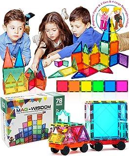 Mag-wisdom Magnetic Tiles for Kids Magnetic Blocks Building Tiles 78 Pcs 3D STEM Toys Magnet Building Blocks Educational T...