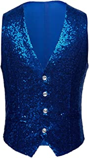 Mens Fashion Full Sequins Paillette Waistcoat