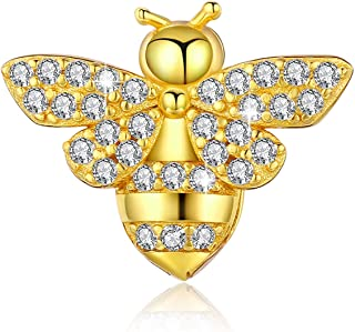 925 Sterling Silver Queen Bee Charms, Yellow Cute Animal Bead with 5A CZ Pendant fit for Reflexions Bracelet Necklace Birthday Mother's Day Gift Jewelry