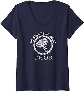 Womens Marvel Thor The Strength Of Asgard Hammer Stamp V-Neck T-Shirt