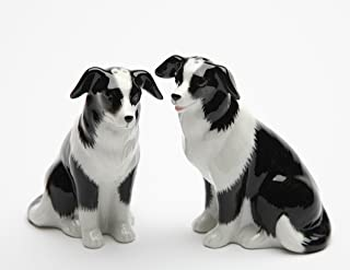 Cosmos Gifts 20870 Fine Porcelain Border Collie Dogs Salt and Pepper Shakers Set, 3-3/8