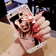 HMTECHUS iPhone Xs MAX case Luxury Bling Crystal Diamond Rhinestone Shining Bear Ring Holder Stand Miror Makeup TPU Bumper Cover Case for iPhone Xs MAX 6.5 Inch Rose Gold Bear Mirror TPU