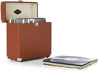 AUNA Vinylbox - Coffret à vinyles Style rétro en Cuir Boite de Rangement pour 30 disques avec Bordures renforcées et revêt...