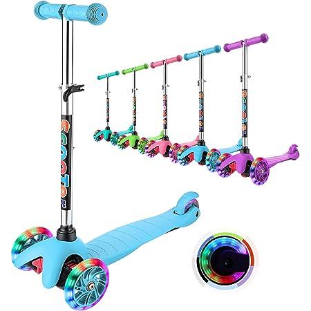 WeSkate Patinete para Niño Niña 3-8 Años Mini Scooter de Tres Ruedas con Luces LED manubrios Ajustables Patinetes para niños