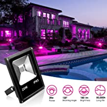 KOOT UV 黑色光 LED 泛光灯,防水户外壁洗灯 IP65 1800lm 超亮*工作灯-适合花园院草坪体育场车库仓库
