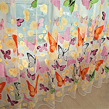 Fashion?Life Floral Butterfly Curtains Sheers Voile Tulle Window Curtain 100x200cm