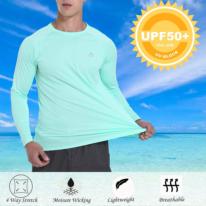 Sun Protection Rashguard Lightweight Workout Running T-Shirts Fishing Running FEDTOSING Mens Long Sleeve Shirts UPF 50