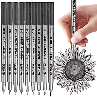 MISULOVE Black Micro-Pen Fineliner Ink Pens, Set of 9 Various Size Tip, Drawing Pens, Precision Micro-Line Pens, Illustration Pens, Multiliner, for Art Watercolor, Sketching, Manga, Scrapbooking