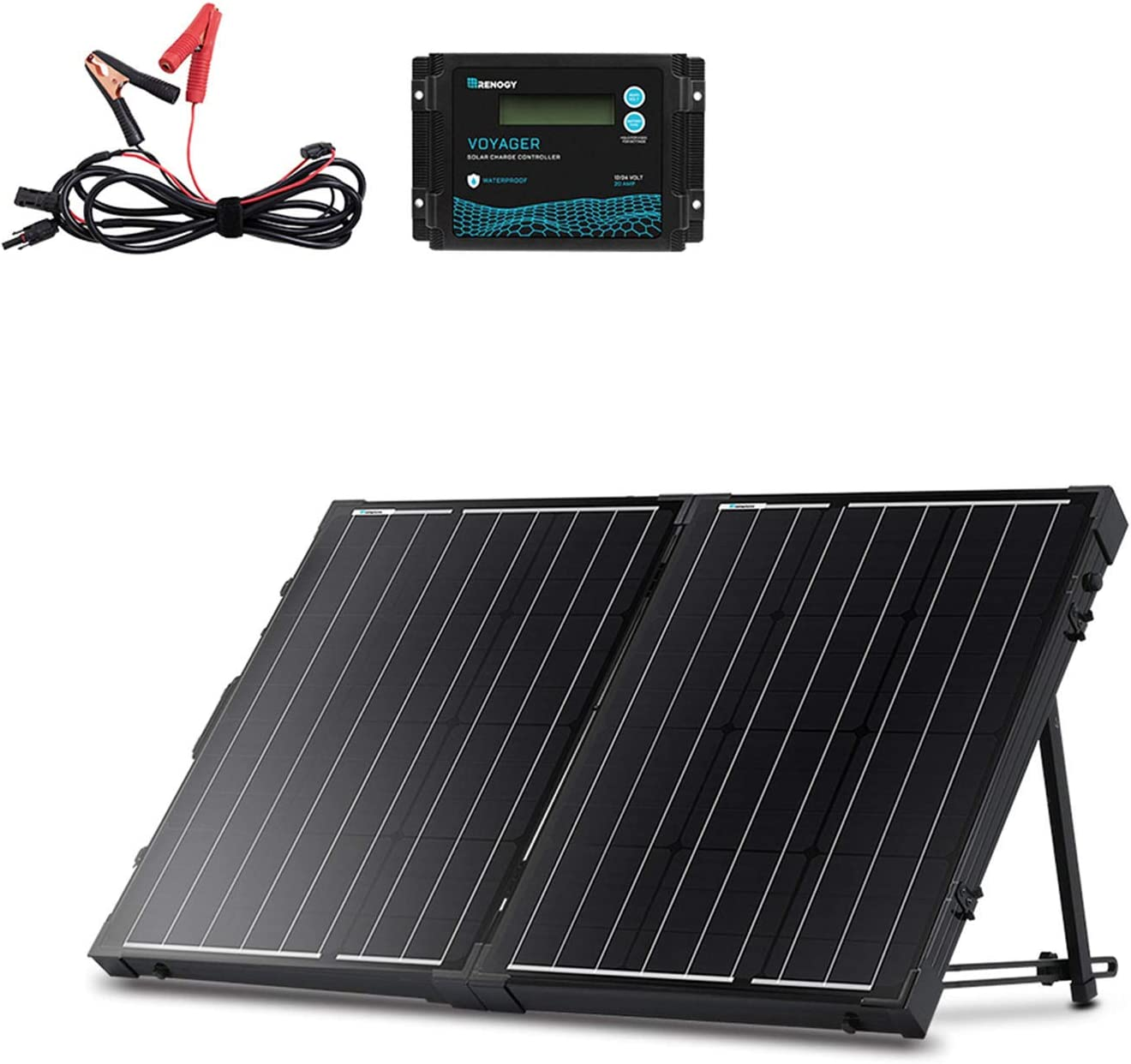 Renogy 100w 12v Mono Solarkoffer Wasserdicht 20a Solarregler Lcd Für Wohnmobil Camper Boot Garten