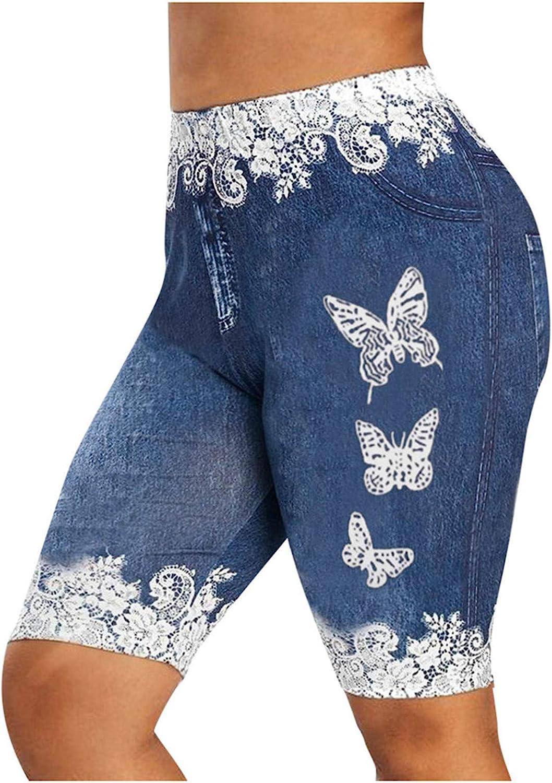 HUOJING Denim Shorts for Women High Waisted Destroyed Jeans Shorts Elastic Casual Capri Leggings