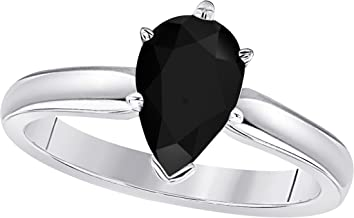 Gems and Jewels 14k White Gold Plated Alloy Pear Cut Created Black CZ Diamond CZ Solitaire Engagement Ring 1.75 CTW for Womens