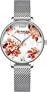 CURREN 9060 Luxury Casual Business Quartz Women Watch Flower Dial Elegant Exquisite Lady Wrist Watch 3ATM Waterproof Clock...