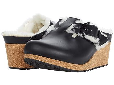 Birkenstock Fanny Big Buckle Shearling (Black/Natural) Shoes