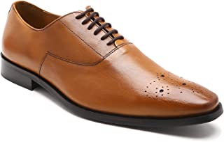 HATS OFF ACCESSORIES Genuine Leather Tan Oxford Shoes with Punch Cap