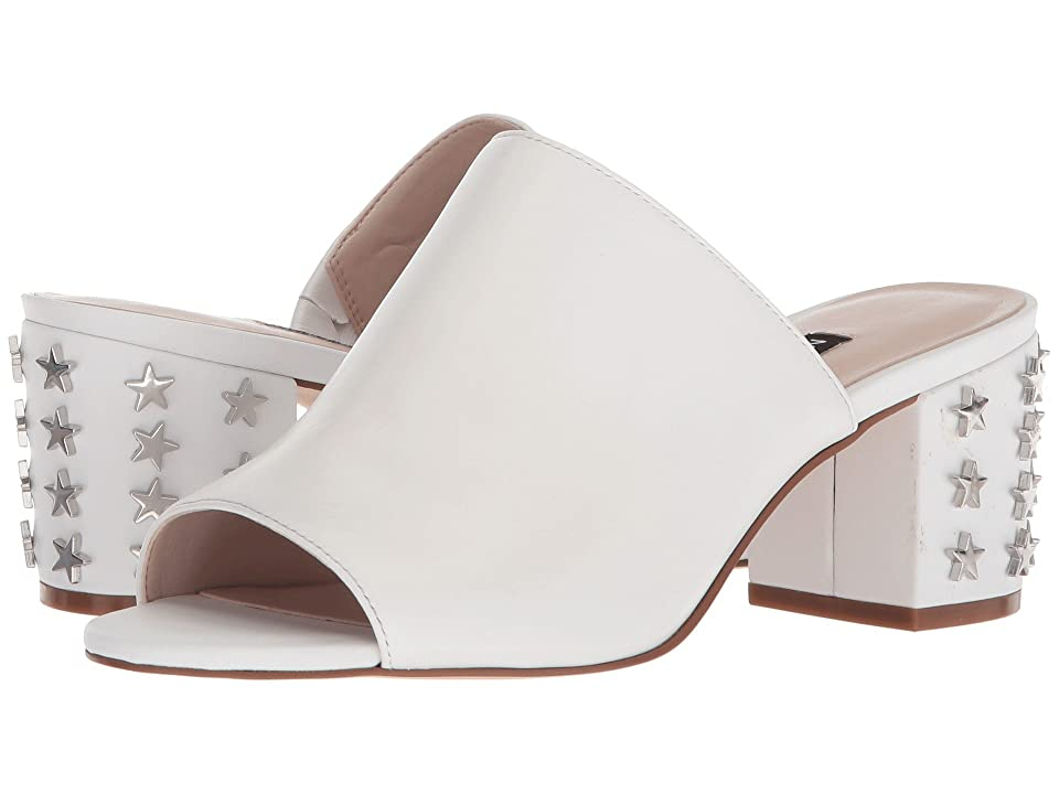 Nine West Fierceness Slide Block Heel (White Leather) Women