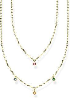 Thomas Sabo - Collar doble para mujer con piedras de colores doradas, plata de ley 925, 40-45 cm de longitud