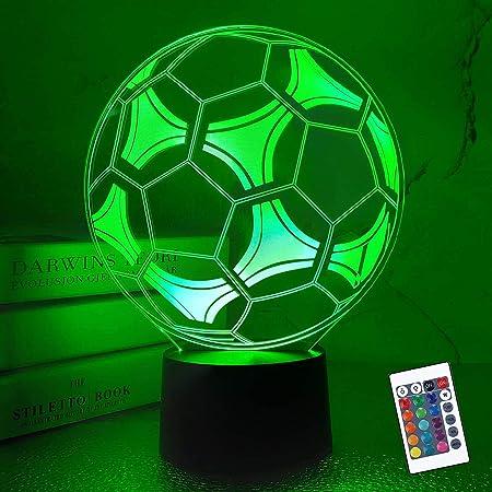 Fernbedienung 3D LED Nachtlicht Fußball Tischlampe Nachtlampe Kinderzimmer USB
