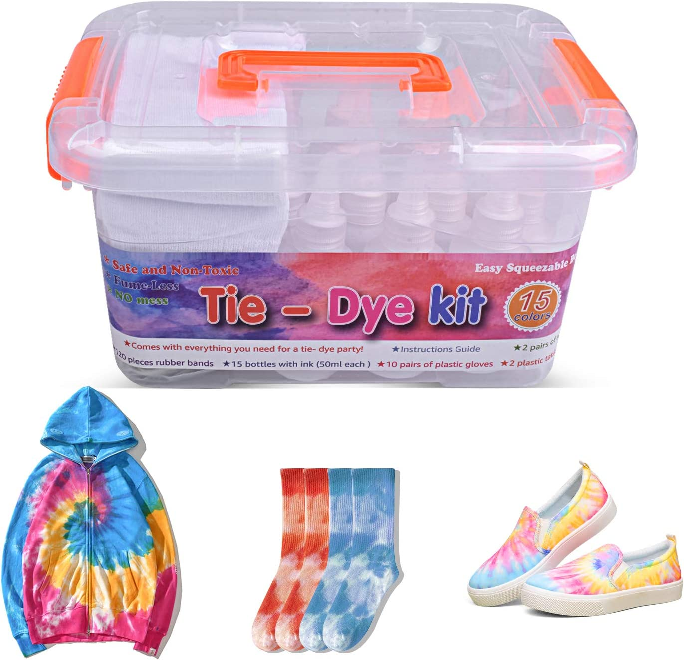 AUKUYEE Translated Tie Dye Kit 15 Colors Clearance SALE Limited time Tye Die Kits Adult Fa Kids for