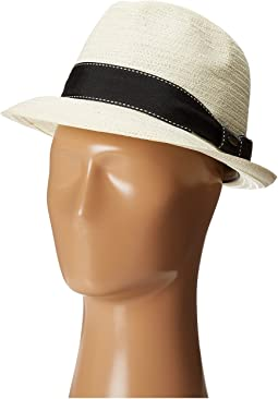 SCALA - 5 BU Toyo Fedora with Striped Ribbon Band