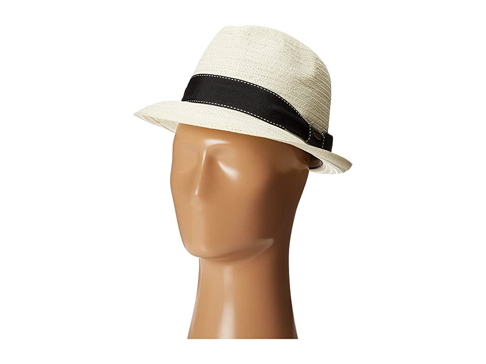 SCALA 5 BU Toyo Fedora with Striped Ribbon Band (Ivory) Fedora Hats