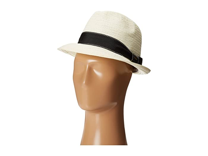 SCALA 5 BU Toyo Fedora with Striped Ribbon Band (Ivory) Fedora Hats