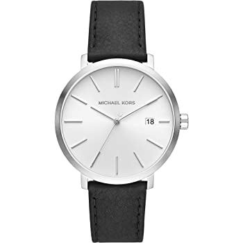 Michael Kors Blake Three-Hand Stainless Steel Watch with Leather Strap