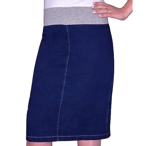 7cacac5687 Kosher Casual Women's Modest Straight Midi Length Denim Skirt Stretch  Waistband No Slits Regular and Plus