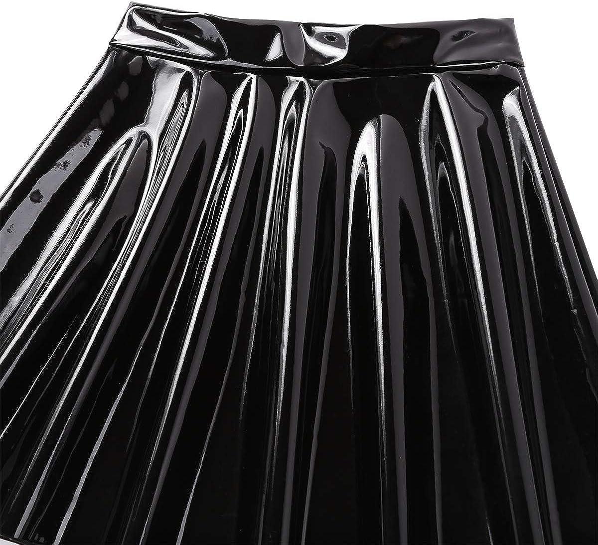 easyforever Women's Wet Look PU Leather High Waist Flared Pleated A-Line Circle Mini Skater Skirt Clubwear