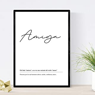 Nacnic Lámina Palabra Amiga Lámina nordicas Blanco y Negro. Poster 250 gr y tintas Tamaño A3 Sin Marco