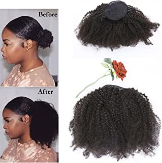 Lacerhair Afro Kinky Curly Human Hair Ponytail Hair Extensions 4B 4C Coily Natural Remy Curly Clip in Ponytail Extension One Piece For Black Women 10-20 inch (18 inch, Natural Black #1B)