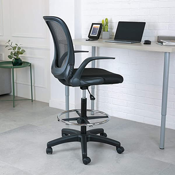 YOUNIS Drafting Chair With Black Fabric Seat Adjustable Armrest And Foot Ring Black Breathable Mesh Backrest Reception Desk Chair Tall Office Chair