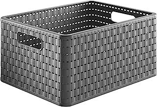Rotho Country Boîte de rangement 18l en rotin, Plastique (PP) sans BPA, anthracite, A4/18l (36,8 x 27,8 x 19,1 cm)