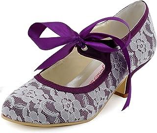 ElegantPark HC1521 Women's Mary Jane Closed Toe Low Heel Pumps Lace Wedding Dress Shoes with Ribbon Tie