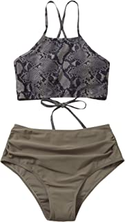 SOLY HUX Women's Lace Up Top with High Waist Panty Two Piece Swimsuits Bathing Suits Snakeskin S